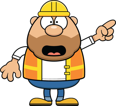 Cartoon illustration of a construction worker pointing.