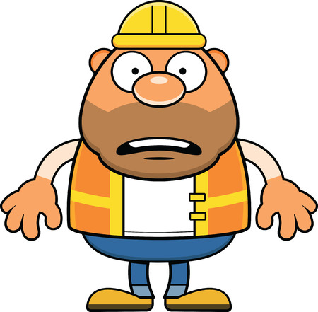 Cartoon illustration of a construction worker with a bad sunburn.