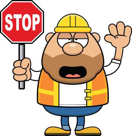 Cartoon illustration of a road worker holding a stop sign. Illustration