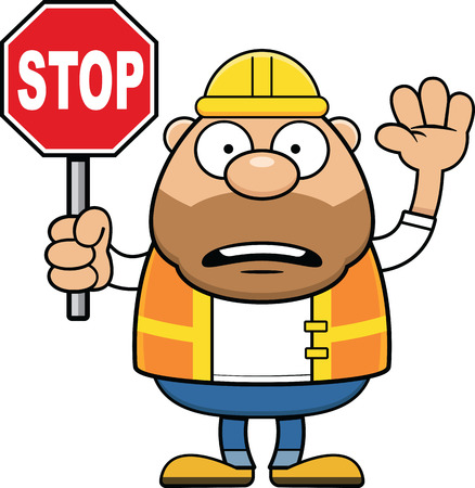 Cartoon illustration of a road worker with a worried expression. Illustration