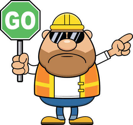 Cartoon illustration of a construction worker with a frowning expression holding a go traffic sign.