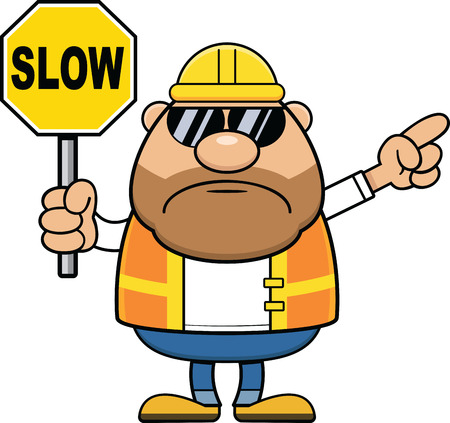 Cartoon illustration of a construction worker holding a slow sign.
