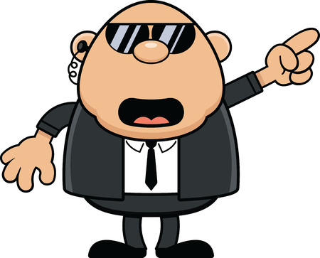 Cartoon illustration of a bodyguard talking and pointing directions.  Illustration