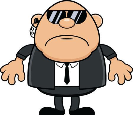 Cartoon illustration of a tough looking bodyguard.