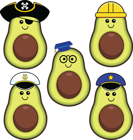 Illustrated set of cute kawaii avocados with different hats and expressions.  Illustration
