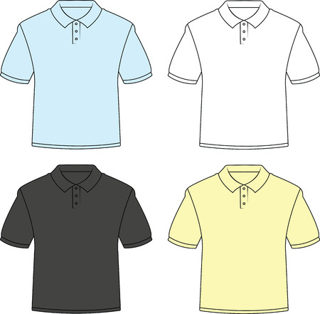 Conjunto ilustrado de ángulo frontal de cuatro camisas de polo en blanco.