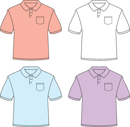 Illustrated set of blank polo shirts with pockets. Illustration