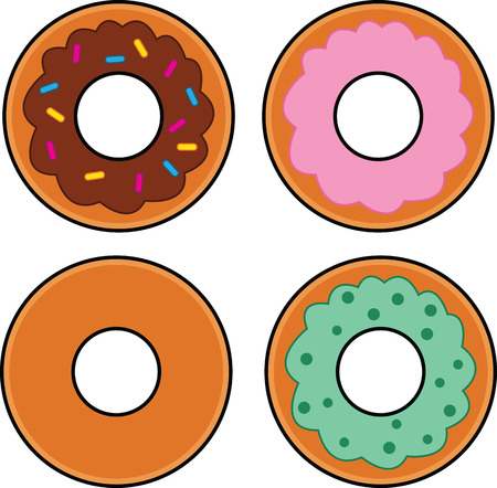 Illustrated set of four cartoon vector donuts in a variety of flavours. Illusztráció