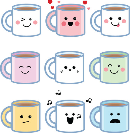 Illustrated set of kawaii cartoon coffee mugs featuring a variety of expressions.