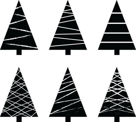 Illustrated vector set of Christmas tree graphics done in black and white.