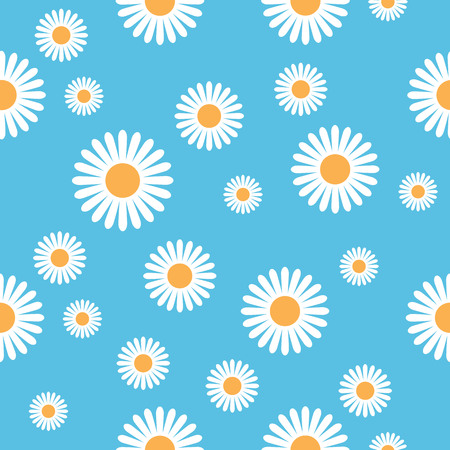 Illustrated seamless daisy flower pattern against a blue background. 矢量图像