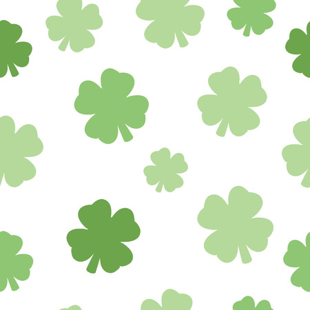 Illustrated seamless design pattern of a four leaf clover against a white background.