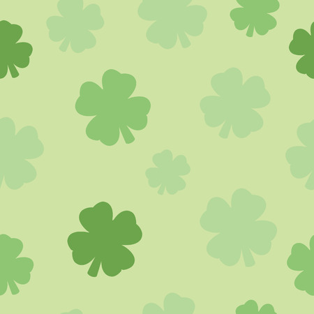 Illustrated seamless pattern four leaf clover design with a green background.
