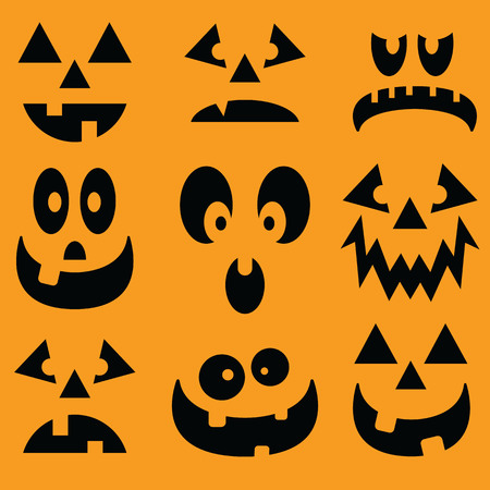 Illustrated set of pumpkin faces for Halloween. Vettoriali
