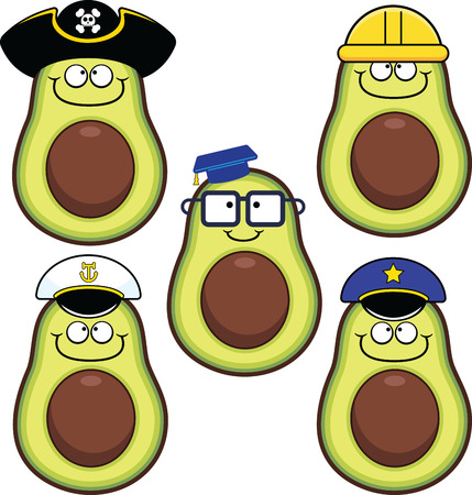 Illustrated set of cartoon avocados featuring a variety of characters.