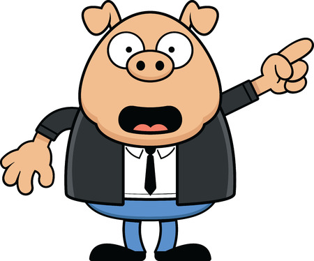 Cartoon illustration of a pig wearing a suit and pointing. Illustration
