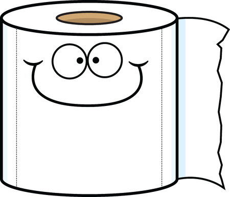 Cartoon illustration of a happy roll of toilet paper.