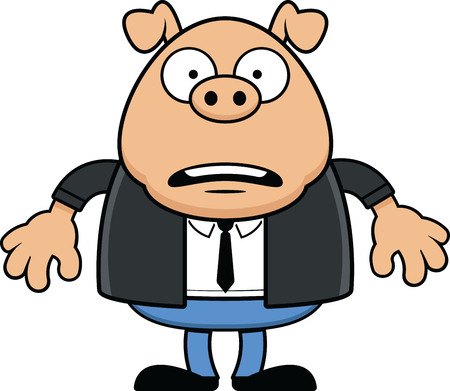 Cartoon illustration of a funny cartoon pig with a worried expression wearing a suit.