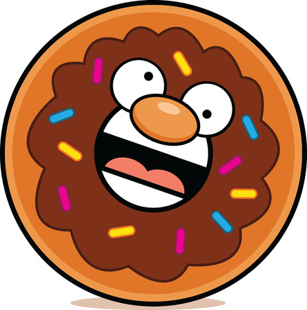 Cartoon illustration of a chocolate donut with a crazy expression.