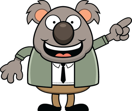 Cartoon illustration of a koala bear wearing a suit and pointing. 矢量图像