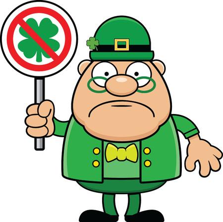 Cartoon leprechaun holding a no luck or bad luck sign.