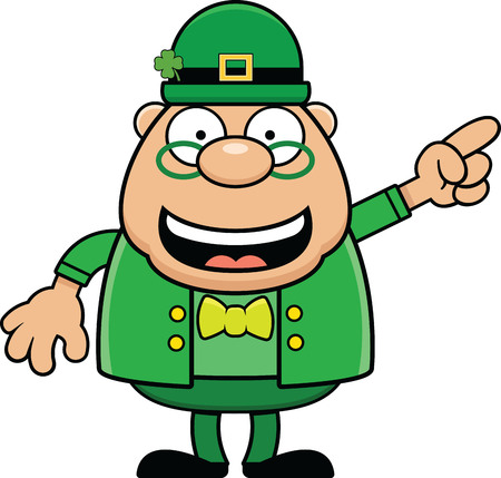 Cartoon illustration of a leprechaun smiling and pointing.