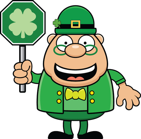 Cartoon illustration of a leprechaun holding a shamrock luck sign and smiling.