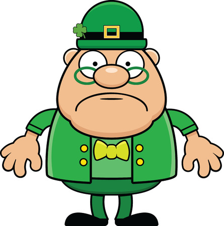 Cartoon illustration of a leprechaun standing and frowning.
