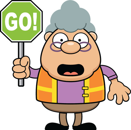 Cartoon illustration of a crossing guard with a Go sign.