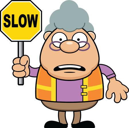 Guardia de cruce de abuela de dibujos animados con un cartel lento.