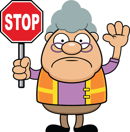 Cartoon illustration of a grandmother crossing guard holding a stop sign.