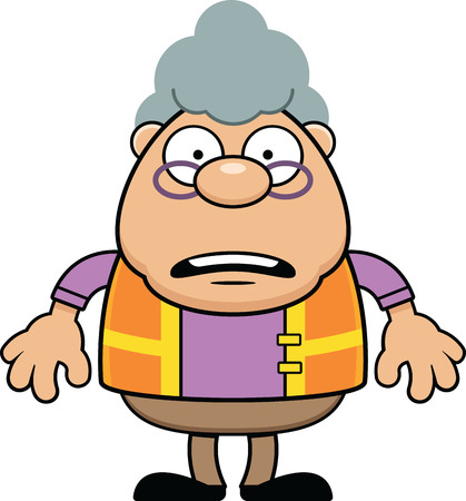 Cartoon illustration of a grandmother dressed as a crossing guard.