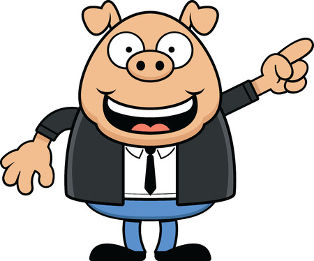 Cartoon illustration of a pig wearing a suit and pointing. 矢量图像