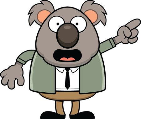 Cartoon illustration of a koala bear standing and pointing.