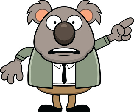 Cartoon koala bear with a scared expression standing a pointing.