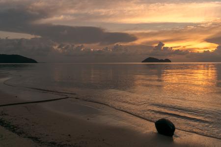 Yellow Coconut Sunset Koh Phangan Stock Photo - 116711117