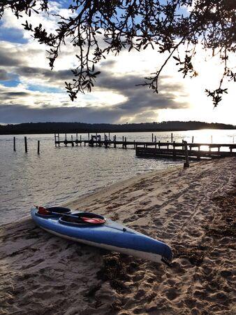 enjoymant: Jetty, kayak, wonderful , lake, scenic Stock Photo