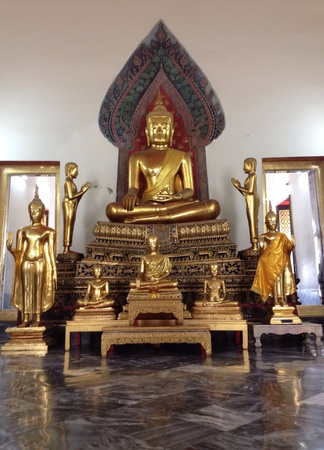 shiny: Group of budha in temple Stock Photo