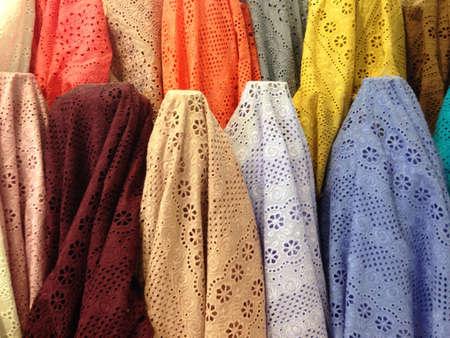 cotton fabric: Earth tone fabric Stock Photo