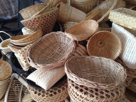 weave: Rattan basket Stock Photo