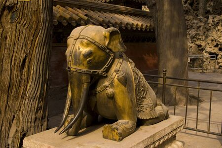 A golden elephant statue found in the Forbidden Palace in Beijing. Stock Photo - 10781021