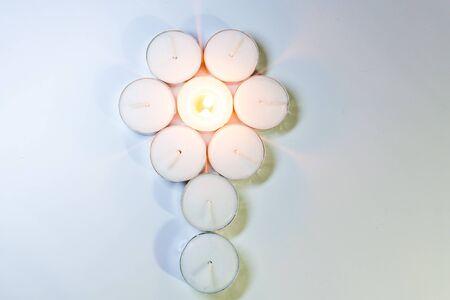 tea candle: Round Tea Candle lights arranged. Christmas lighting Stock Photo