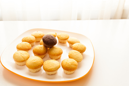 Tasty muffins in the plate on the table near to window with natural sun light. Stock Photo