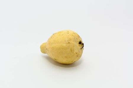 One yellow ripe guava fruit on white background