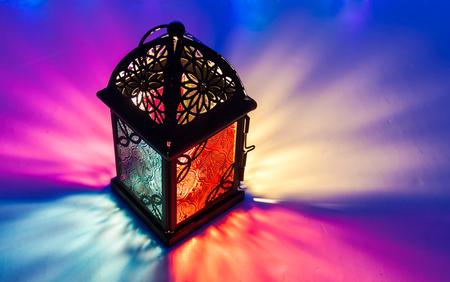 Arabic lantern on colorful light background. Ramadan, Eid concept background Stock Photo