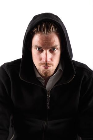 Man in a hoodie with white background. photo