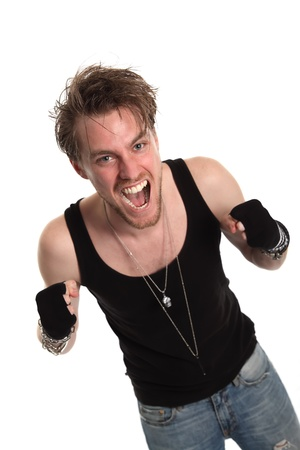 Rocker dude with raised fists. White background. photo