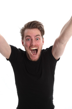 cheer: Yeeeaah!! Man screaming with his arms up, wearing a black t-shirt. White background.