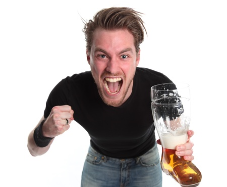 young cheering: Winning! Man with a boot shaped beer glass wearing a black t-shirt. White background.
