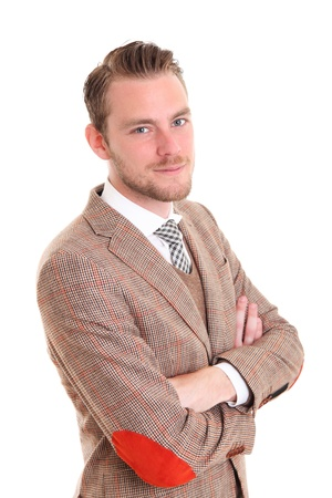 beau jeune homme: Jeune homme d'affaires v�tu d'un costume et une cravate. Fond blanc. Banque d'images